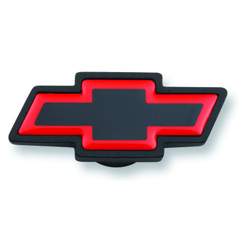 Air Cleaner Center Nut; Large Chevy Bowtie Style; Black Crinkle w/ Red Outline